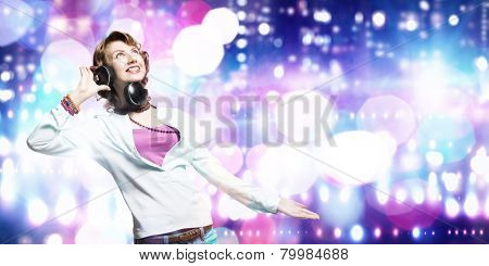 Young pretty woman in casual wearing headphones