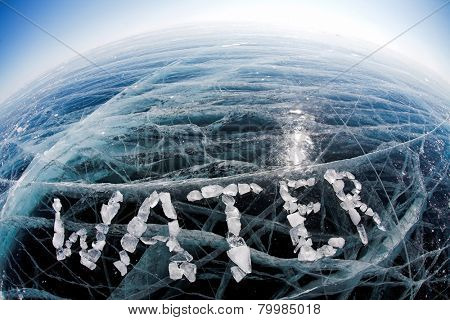 word water made from ice on winter frozen lake Baikal