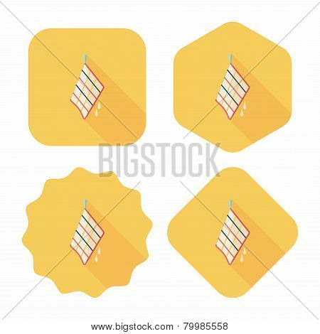 Kitchenware Rag Flat Icon With Long Shadow