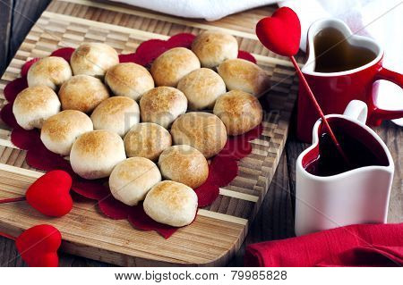 Pie In The Shape Of Heart Made From Yeast Roll Buns At Valentine Day.