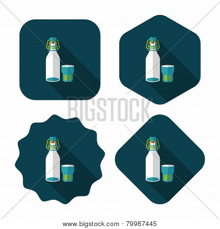 Kitchenware Preserving Drink Flat Icon With Long Shadow,eps10