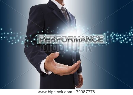 Businessman hand showing performance button