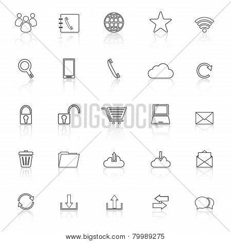 Communication Line Icons With Reflect On White Background