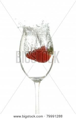 Strawberry Drop Into Glass
