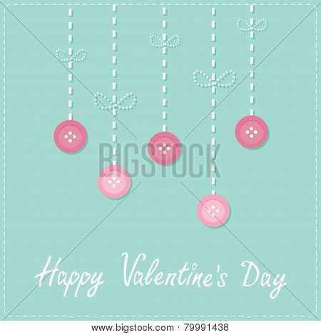 Hanging Rain Button Drops. Dash Line Love Card Flat Design Happy Valentines Day