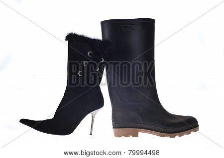 Cute Woman Shoe And Big Dirty Man Overshoe