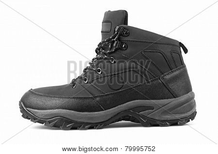 Man's winter boots of black color, isolated on white background