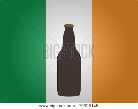Irish Flag With A Bottle Of Beer