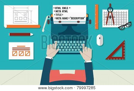 Vector Illustration Of Website Development And Programming. Workplace Of Programmer With Equipment.
