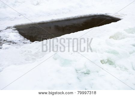 Ice-hole With Frozen Water In Pond And Ice Blocks