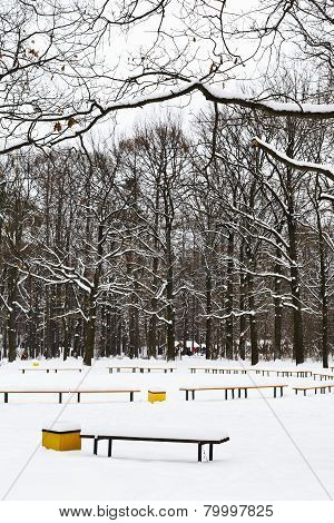 Snow Covered Recreation Ground In City Park