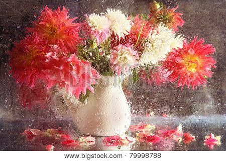 Bouquet Of Dahlias In A White Jug