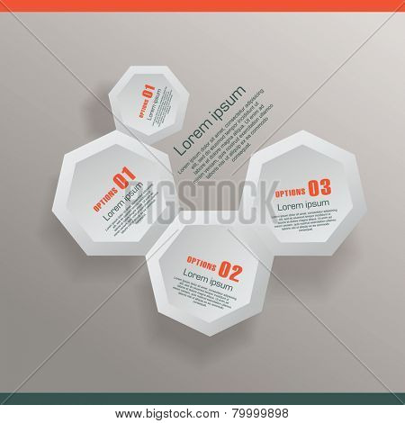 Infographic with honeycomb structure
