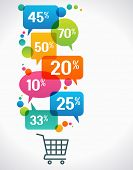 picture of cart  - Shopping cart with percent discounts - JPG