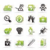 stock photo of microorganisms  - Ebola pandemic icons  - JPG