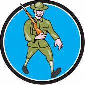 stock photo of world war one  - Illustration of a World War one British soldier serviceman marching with assault rifle viewed from side set inside circle on isolated background done in cartoon style - JPG