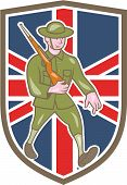 picture of world war one  - Illustration of a World War one British soldier serviceman marching with assault rifle viewed from side set inside shield with UK British flag in the background done in cartoon style - JPG