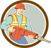 picture of hammer drill  - Illustration of a construction worker carrying holding jack hammer pneumatic drill set inside circle on isolated background done in cartoon style - JPG