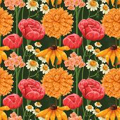 stock photo of chamomile  - Floral seamless patterns with roses - JPG