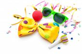 picture of mask  - Colorful carnival background with stripes and mask - JPG