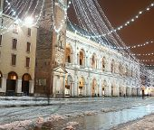image of vicenza  - main square of the town of Vicenza Piazza dei Signori with illuminations and snow in winter - JPG
