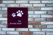 stock photo of petting  - Pet Friendly Sign in a Hotel - JPG