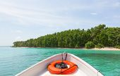pic of deserted island  - View to Zapatilla island from the bow of the boat - JPG