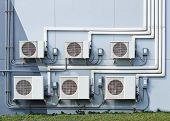 stock photo of ventilator  - air ventilation systems installed outside on the wall - JPG