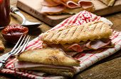stock photo of french-toast  - Quick dinner toast with ham and cheese  - JPG