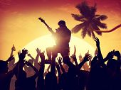 image of adolescent  - Adolescence Summer Festive Music Fans Concert Dancing Concept - JPG