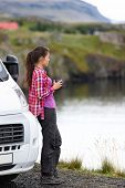 stock photo of campervan  - Travel woman by mobile motor home RV campervan - JPG