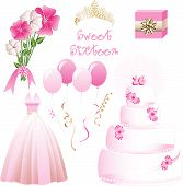 stock photo of quinceanera  - Vector Illustration of icons for a sweet sixteen birthday party - JPG