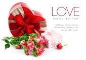stock photo of bunch roses  - Gift with bunch roses on valentines day - JPG