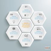 stock photo of honeycomb  - Infographic with honeycomb structure on the grey background - JPG