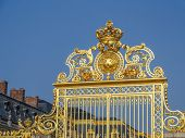 picture of versaille  - Ornamental golden front gate of Versailles Palace - JPG