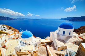 foto of greek-island  - Oia town on Santorini island - JPG