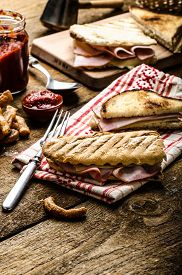 stock photo of french toast  - Quick dinner toast with ham and cheese  - JPG