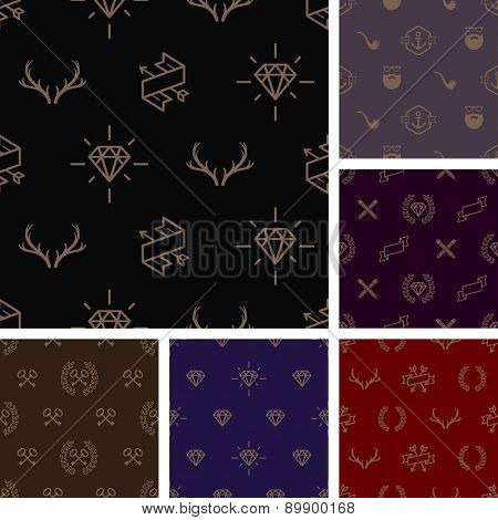 Vector illustration - Set of hipster style seamless background