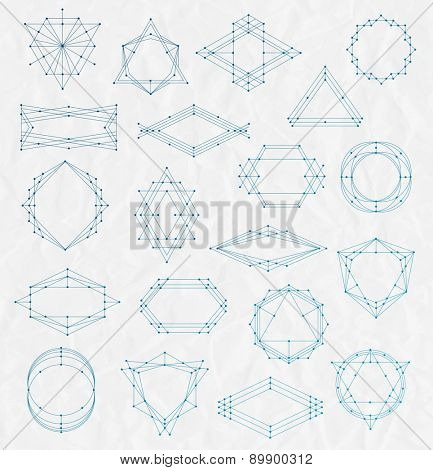 Vector Set of Line art hipster frames on a creased paper background