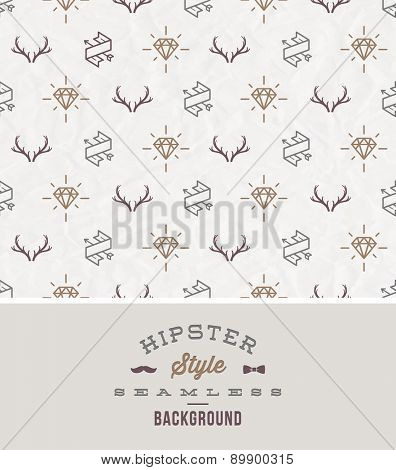 Vector illustration - hipster style seamless background