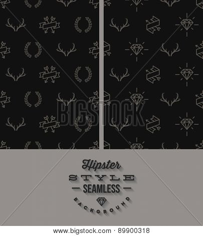 Vector illustration. Two black hipster style seamless background