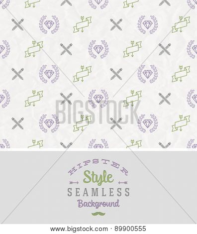 Hipster style seamless vector background