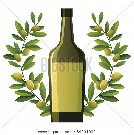 Bottle Of Olive Oil With Wreath