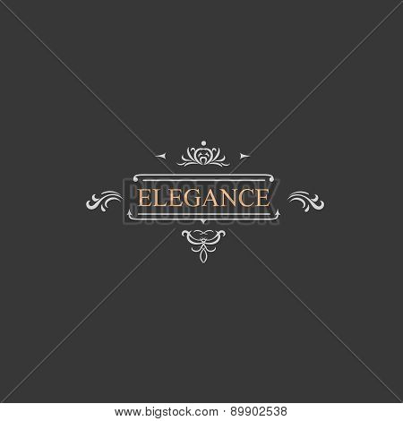 Vintage retro label and luxury logo, restaurant, hotel, boutique  Heraldic victorian Design with flo