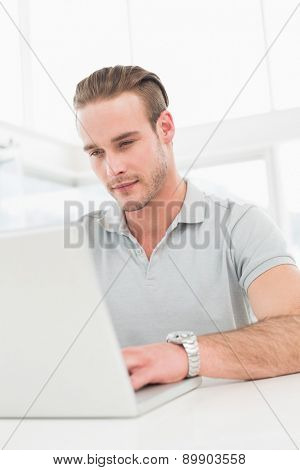 Cheerful casual businessman typing on laptop in his office
