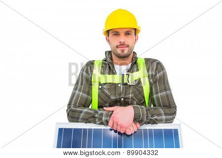 Manual worker with solar panel on white background