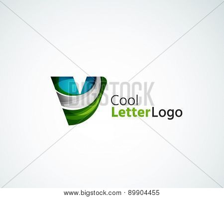 Vector alphabet letter logo. Created with transparent colorful overlapping geometric shapes, waves and flowing elements