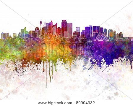 Sydney V2 Skyline In Watercolor Background