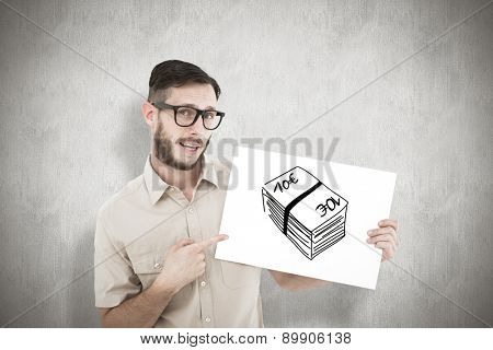 Geeky hipster pointing at poster against white background