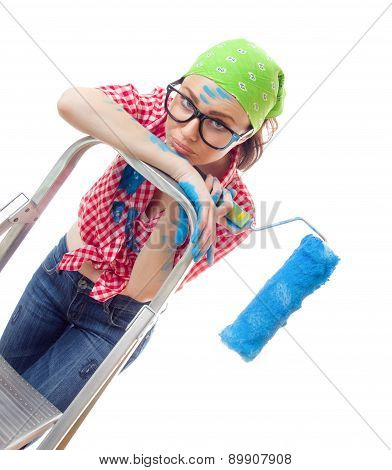Sad Woman With Paint Roller, Isolated On White. Lazy Female Worker On Renovation Or Wall Painting